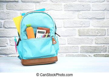 suministros, espacio, vacío, fondo., mochila, accesorios, escuela
