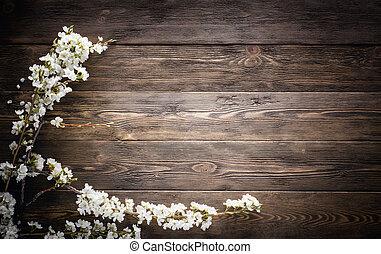 Summer Flowers en el fondo de textura de madera
