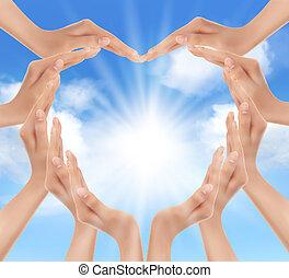 sun., manos, tenencia, vector, illustration.