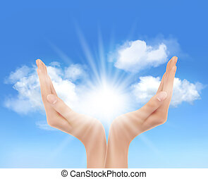 sun., manos, vector., brillante