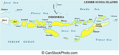 sunda, mapa, archipiélago, 2, menor, malayo, islas