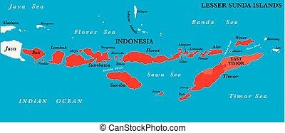 sunda, mapa, archipiélago, malayo, menor, islas