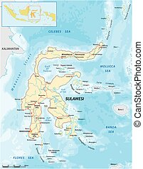 sunda, sulawesi, isla, vector, mapa de camino, indonesia, más grande