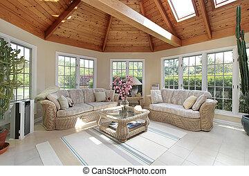 sunroom, hogar, lujo