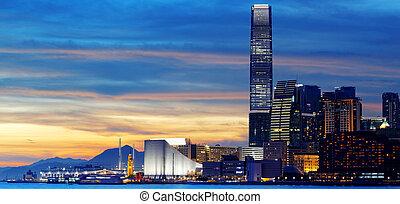 sunset., contorno, hong kong