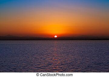 Sunset en Albufera Lake Valencia Spain