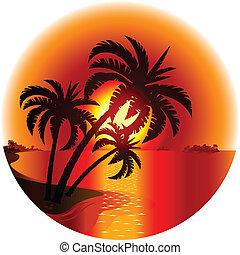 Sunset en una isla tropical