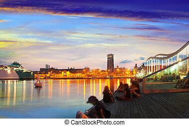 sunset., vell, terraplén, barcelona, puerto