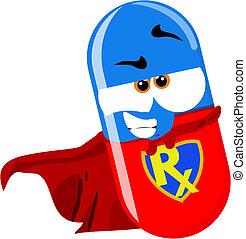 super héroe, píldora