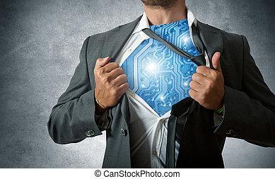 super héroe, tecnología