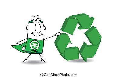 Super Hero con una señal de reciclaje