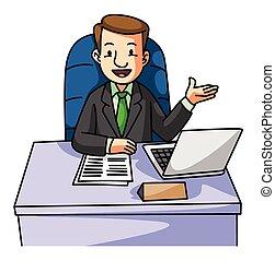 Supera al hombre de negocios en el escritorio
