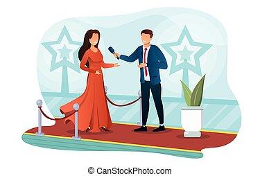 superestrella, el caminar de la mujer, celebridad, alfombra, rojo
