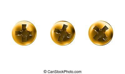 superficie, macro, dorado, vista, oro, cima, conjunto, blanco, caps., illustration., torcido, pulido, metalwares., self-tapping, sombreros, tornillo, vector, cabezas, aislado, tornillos, fondo., objetos