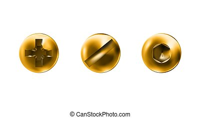 superficie, macro, slotted, dorado, vista, oro, cima, conjunto, blanco, caps., illustration., torcido, pulido, metalwares., self-tapping, sombreros, imbus, tornillo, vector, cabezas, aislado, tornillos, fondo., objetos
