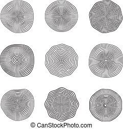 Superficies de ondas abstractas. Fluyendo ondas sonoras. Recolección de vectores de anillos suaves aislada
