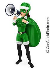 Superhéroe de Navidad de 3D con un saco hablando en un megáfono