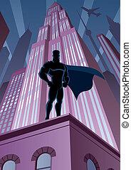 Superhéroe en la ciudad