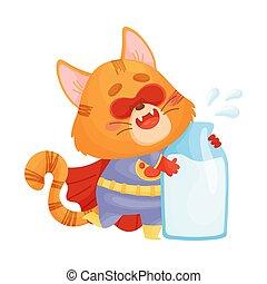 Superhéroe gato de dibujos animados con una botella de leche. Ilustración de vectores en un fondo blanco.