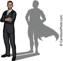 superhero, concepto, hombre de negocios