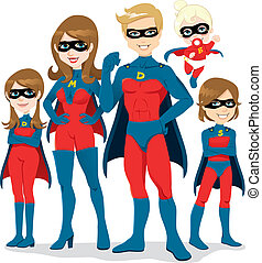 superhero, disfraz, familia