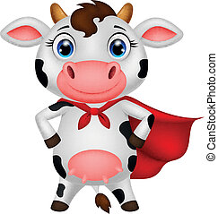 superhero, posar, caricatura, vaca