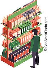 supermercado, isométrico, estante, composición