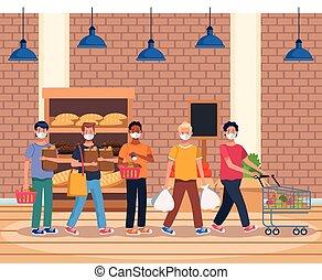 supermercado, máscara, cara, compras, gente