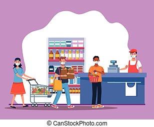 supermercado, máscara, gente, cara, compras