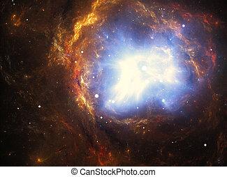 supernova, nebulosa, explosión, colorido, creado