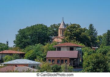 Supervisión de la iglesia ortodoxa georgiana en Kutaisi, Georgia.