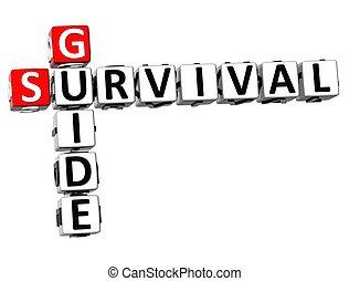 supervivencia, guía, 3d, crucigrama
