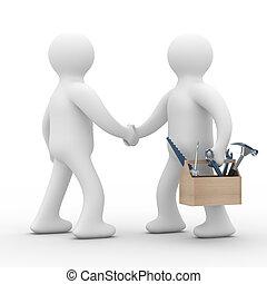 support., service., técnico, imagen, aislado, línea, 3d