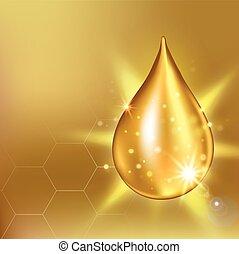 supremo, gota, prima, colágeno, essence., solución, ilustración, vector, droplet., cosméticos, aceite, suero, brillar