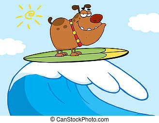 surf, perro, feliz