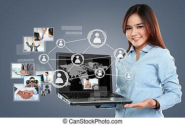 surf, red, mujer de negocios, computador portatil, virtual, pc, conexión, plano de fondo, social, tenencia
