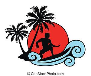 Surfear una ola con palmas y