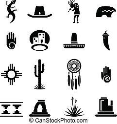 suroeste, conjunto, iconos