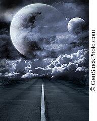 surreal, camino, galaxia