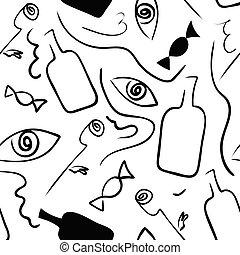 surrealismo, black-white, seamless, patrón, style., lineal