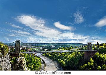 suspensión, bristol, puente, clifton, uk., famoso, mundo, situado