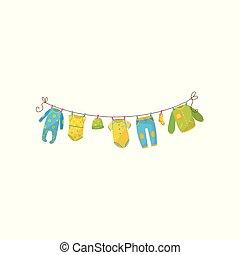 sweatpants, bodysuit, ahorcadura, niños, bebé, tibio, vector, jumper., niños, fashion., calcetín, rope., plano, girl., recién nacido, elegante, gorra, prenda, o, ropa, lindo, romper, niño, s
