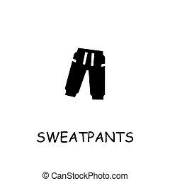 sweatpants, icono, vector, plano