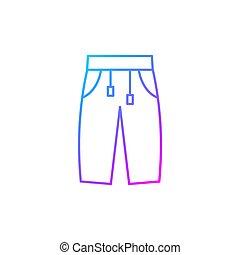 sweatpants, vector, lineal, icono, gradiente