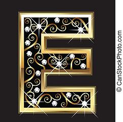 swirly, ornamentos, e, oro, carta