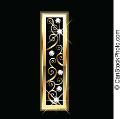 swirly, ornamentos, oro, carta