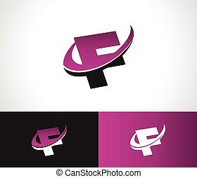 Swoosh alfabeto F icono