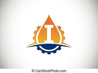 swoosh, compañía, identidad, fuente, concept., oil., engranaje, moderno, petróleo, aceite, logotipo, vector, empresa / negocio, inicial, monogram, emblem., alfabeto, gas