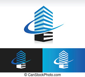 Swoosh el icono del edificio moderno