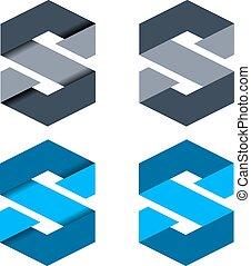 symb, vector, resumen, s, papel, carta
